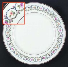 """""""Pompadour"""" china pattern with blue & green Baroque flower chain on rim from Haviland."""