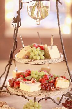 So pretty. Fruit and cheese board.