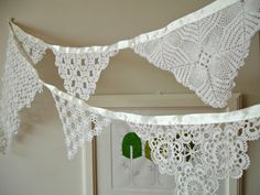 Wedding Garland Decoration , Banner , Photo booth Props , bunting ,   Bridal shower , Handmade With Handcrocheted Vintage Doilies and Laces. $38.00, via Etsy.