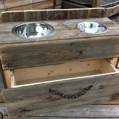 Raised dog feeder out of barn board.