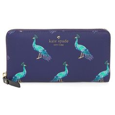 Women's Kate Spade New York Harding Street - Lacey Wallet ($178) ❤ liked on Polyvore featuring bags, wallets, peacock blue, blue bag, kate spade bags, peacock bag, print wallets and peacock wallet
