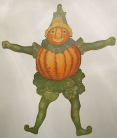 Wonderful vintage veggie man articulated die cut decoration.