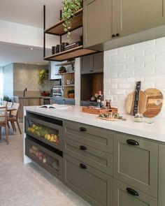 Green bamboo: this is the tone we choose for finishing the joinery in the kitchen . - Home Decor, Best Decoration İdeas, Designs Home Decor Kitchen, Kitchen Interior, New Kitchen, Home Kitchens, Home Design Decor, Decoration Design, House Design, Kitchen Cabinet Design, Decorating Small Spaces