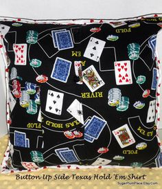 Texas Hold Em 18 x 18 Pillow Button Up Shirt to by Sugarplumplace