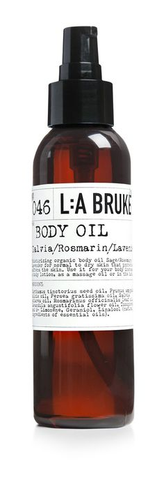 Natural and Exclusive Skincare L:A BRUKET BODY OIL Sage/Rosemary/Lavender 120 ml www.arcadiandco.com