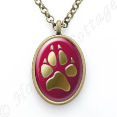 Greyhound Paw Print in Oval Pendant  Original by HorizonCottage
