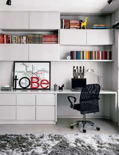 Love the colors and white and black in this office.