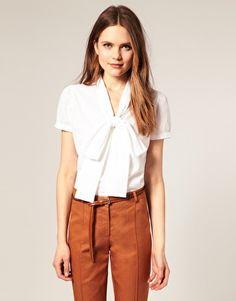 Enlarge ASOS Short Sleeve Pussybow Cotton Blouse