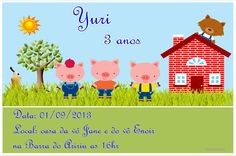 convite-tema-tres-porquinhos-tres-porquinhos Pig Party, Mickey Party, Three Little Pigs, Patches, Birthday Parties, Fictional Characters, Cartoons, Cookies, 2 Year Anniversary