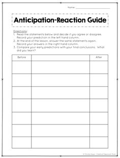 Anticipation-Reaction Guides are a great way to focus students' attention and activate prior knowledge! This opening activity is one of my favorite anticipatory sets because it can be used across the curriculum. Read on to learn more about Anticipation Guides, ideas for implementation, and grab free printables.
