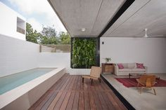 Image 1 of 10 from gallery of House Palma Chit / JC Arquitectura. Photograph by Wacho Espinosa Piscina Rectangular, Rectangular Pool, Outdoor Spaces, Outdoor Living, Outdoor Decor, Indoor Outdoor, Interior Architecture, Interior And Exterior, Piscina Interior