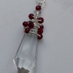 Unique Christmas Ornament Dark Red Beads Vintage Chandelier Crystal, Sun Catcher, Pendant
