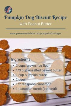 What are the health benefits of pumpkin for dogs? How do you feed pumpkin to dogs? Want to get a simple yet healthy pumpkin dog biscuit recipe? Visit this post! Dog Biscuit Recipes, Dog Treat Recipes, Dog Food Recipes, Homemade Dog Cookies, Homemade Dog Food, Homemade Biscuits, Diy Dog Treats, Healthy Dog Treats, Pumpkin Dog Biscuits