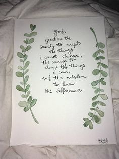 Hand lettered and hand painted Serenity Prayer stretched canvas painting. Perfect for living rooms, dining rooms, bathrooms, bedrooms, nurseries, play rooms, baby showers, birthdays, holidays, & many more! - Watercolor paint is used for all details and lettering. - Hardware to hang