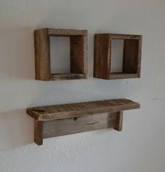 Reclaimed wood shadow boxes and wood wall shelf by barnwood4u