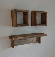 Reclaimed wood shadow boxes and wood wall shelf by barnwood4u