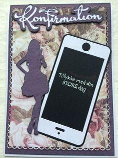 Konfirmationskort Dress Card, Texting, Communion, Mobile Phones, Birthday Cards, Girly, Scrapbook, Phone Cases, Dresses