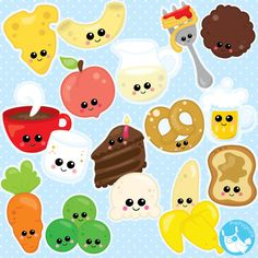 Food clipart commercial use, Kawaii Food clipart vector graphics, Perfect pairs digital clip art, chocolate clipart - CL981 by Prettygrafikdesign…