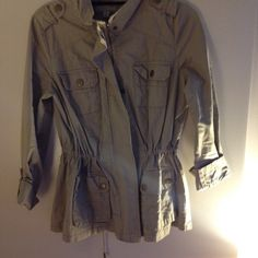 Military style jacket Macy's private label brand Twenty Six International utility jacket with synched waist and button detailing. In great condition! Macy's Jackets & Coats Utility Jackets