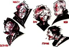 MCR as drawn by Gerard Way; published in Alternative Press' article, December, 2004.