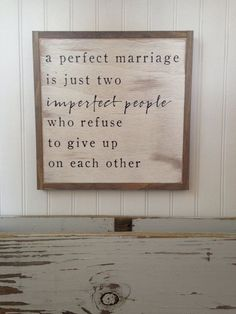 PERFECT MARRIAGE {1'X1'} sign | distressed wooden sign | painted wall art | elegant farmhouse decor | wedding anniversary gift by ThePeddlersShed on Etsy