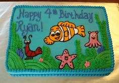 Finding Nemo sheet cake - design was made by hand completely out of buttercream