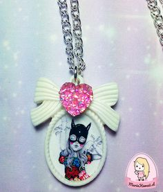 Collar Niña Batman por mariakawaiistore en Etsy #batman #batgirl #ribbon #kawaii #harajuku #necklace