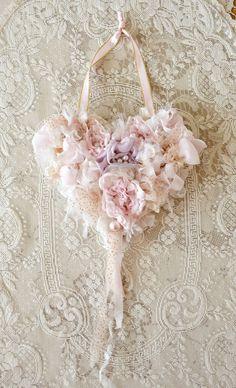 Beautiful Handmade Ribbon Work Heart by Jennelise Rose