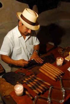 Great for the guys....Cigar Roller at wedding reception in Puerto Vallarta Mexico