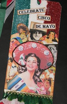 Tag with vintage Mexican women graphics