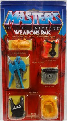 The classic Masters of the Universe Weapons Pak, with alternate accessories for the action figures from the toy line, from Mattel