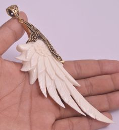 Carved Bone Wing Brass Pendant Natural PN0832 E1144 by Gingsir, $15.75