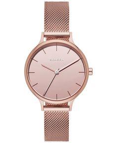 Skagen Women's Anita Rose Gold-Tone Stainless Steel Mesh Bracelet Watch 30mm SKW2413