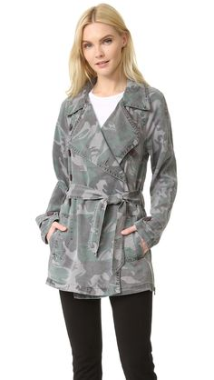 Pam & Gela Women's Camo Trench Coat, Camo, Large