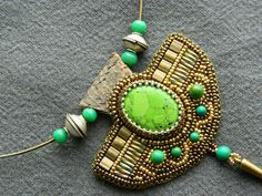 embroidered necklace ethnic  GREEN SUN by EstherWiller on Etsy