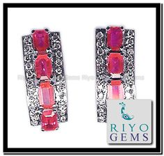 Ruby Earrings, White Gold, Gems, Personalized Items, Ruby Stud Earrings, Rhinestones, Gemstones