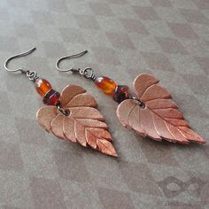 Golden Leather Leaf Earrings With Carnelian And Amber by beadmask, $28.00