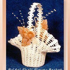 Bridal Shell Flower Basket – Crochet Pattern by Cylinda Mathews Featured at Croc… Bridal Shell Flower Basket – Crochet Pattern by Cylinda Mathews Featured at Crochet Memories – Sponsor Spotlight Round Up via Crochet Thread Patterns, Easter Crochet Patterns, Crochet Basket Pattern, Crochet Baskets, Crochet Wool, Free Crochet, Easy Crochet, Crochet Wedding, Flower Girl Basket