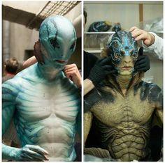 Left: Abraham Sapien from Guillermo del Toro's Hellboy Right: The Amphibian Man from Guillermo del Toro's The Shape of Water Special effects by Abe Sapien, Character Art, Character Design, The Shape Of Water, Movies And Series, Special Effects Makeup, Merfolk, Dark Horse, Creature Design
