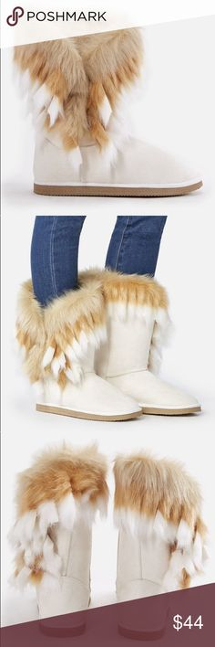 """JustFab cream""""Winter is Coming"""" fuzzy booties, 8 NWT.  Another fave.  This color is sold out on their site.  Super cozy!  Worn very briefly to test sizing.  Size 8.  TTS.  Color is not as bright white as manufacturer's pics.  Boot is more of an off-white/cream color (closest to pic 5) w/ tan/white faux fur.  Also faux fur lined interior.  One button closure on the side, so perfect for all calf sizes. JustFab Shoes Ankle Boots & Booties"""