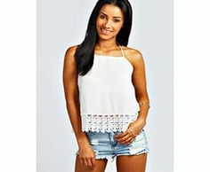 boohoo Crochet Trim Halterneck Top - white azz27593 Make your top a talking point with textures - think brocades, quilting and fluffy-feel. Jersey kinda gal? Shake it up with shapes. Crop tops get cutting edge in boxy, boyfriend fit shapes and shell to http://www.comparestoreprices.co.uk/womens-clothes/boohoo-crochet-trim-halterneck-top--white-azz27593.asp