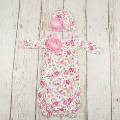 f2497d6c4dfcd Floral Newborn Gown- Infant Newborn Layette- Coming Home Outfit Matching  Sister Outfits, Newborn