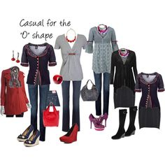 "Casual for the ""O"" (Apple) shape, created by imagesense.polyvore.com #fashion,#casual,#jeans#style"