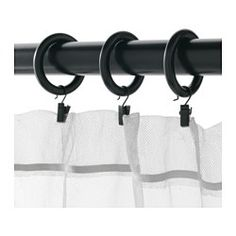 IKEA - PORTION, Curtain ring with clip and hook, You can hang your curtains with either combination - rings with clips or rings with hooks.