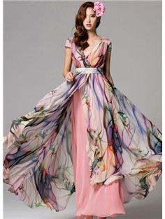Charming Top Quality Chiffon Flower Printing Empire Long Beach Maxi Dress
