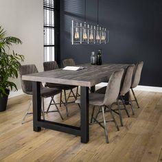 Spisebord i gråtonet akacietræ Dinner Room, Dining Bench, Conference Room, Acacia, Rustic, Decoration, Furniture, Design, Home Decor