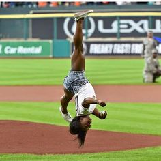 BULLIED NO DAMN MORE {BNDM} GOOGLE +  Pretty.Period. Facebook American gymnast Simone Biles throws a front flip first pitch at an Astros game.