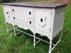 Antique buffet refinished in homemade white chalk paint, dark stain, and black glaze. I love the final product! Valspar antiquing glaze is the best!
