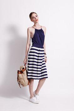 & Matilda Menton Dress - Sailor - Linen Perfect for travelling Banjo And Matilda, Nautical Outfits, Sailor Dress, Travelling, Midi Skirt, Style Inspiration, Skirts, Clothing, Dresses