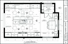 Kitchen floor plan designed by Jeff (BYUI) Drawing House Plans, Plan Drawing, Construction Documents, Construction Drawings, Kitchen Layout, Kitchen Design, Double Island Kitchen, Classic Cabinets, Kitchen Floor Plans